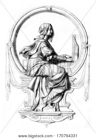 The sacred music, bas relief of the statue of Beethoven in Bonn, vintage engraved illustration. Magasin Pittoresque 1846.