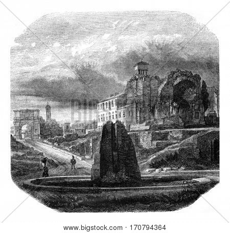 The terminal sweating the temple of Venus and Roma, the Arch of Titus, vintage engraved illustration. Magasin Pittoresque 1846.