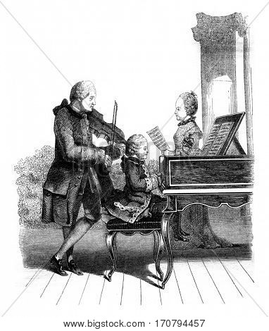 Mozart, his sister and their father, in Paris, vintage engraved illustration. Magasin Pittoresque 1845.
