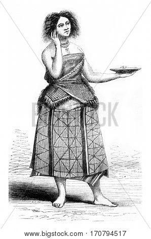 Wallis Islands, Young woman wearing kouva, vintage engraved illustration. Magasin Pittoresque 1846.