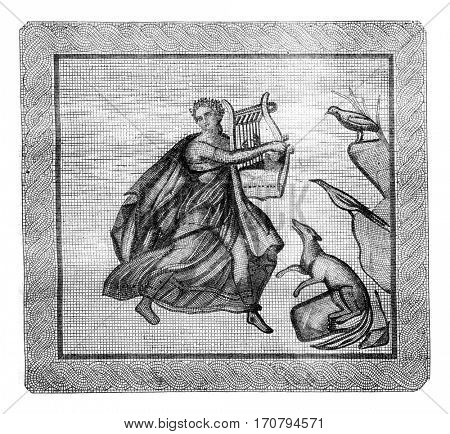 Museum of Aix. Mosaic discovery in Aix in 1843, vintage engraved illustration. Magasin Pittoresque 1845.