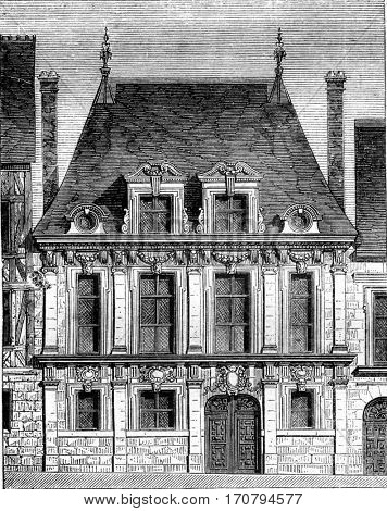Reign of Louis XIII, Old house in Rouen, Saint Patrice Street, vintage engraved illustration. Magasin Pittoresque 1845.