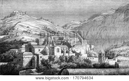 Isle of Capri, The Church, vintage engraved illustration. Magasin Pittoresque 1845.
