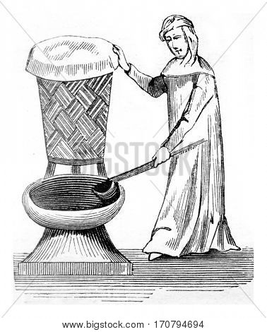 Laundress, vintage engraved illustration. Magasin Pittoresque 1845.