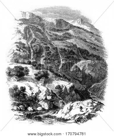 View Daphne Gardens, near Antioch, Syria, vintage engraved illustration. Magasin Pittoresque 1845.