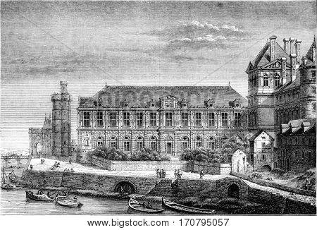 View of part of the Louvre along the Seine, after the changes that took place under Henri IV and Louis XIII, vintage engraved illustration. Magasin Pittoresque 1844.