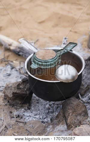 used tea pot set for india tea making in desert camp