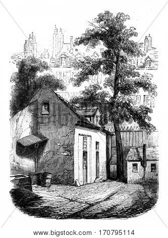 Flag or died Pascal, Neuve Saint Etienne Street, Paris, vintage engraved illustration. Magasin Pittoresque 1845.