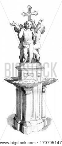 The Invocation was the cross, This baptistry, executed in white marble, 1844 Sculpture Show, vintage engraved illustration. Magasin Pittoresque 1844.