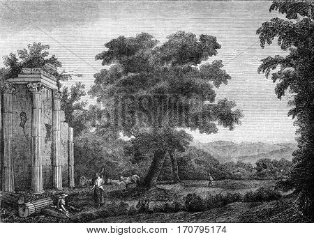 Museum of Bordeaux, sixth room, A landscape by Claude Lorrain, vintage engraved illustration. Magasin Pittoresque 1845.