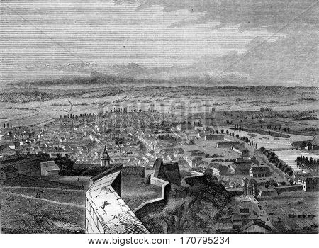 Besancon, capital of the department of Doubs, View from the citadel, vintage engraved illustration. Magasin Pittoresque 1845.