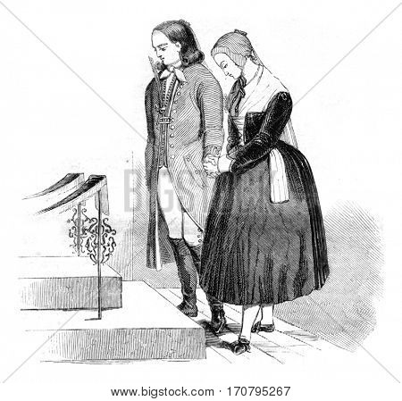 Betrothed, vintage engraved illustration. Magasin Pittoresque 1845.