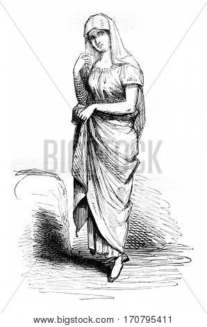 Costumes Manila, vintage engraved illustration. Magasin Pittoresque 1844.