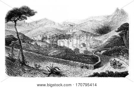 Rayas Mine, Gata Mine, mine Valencia, vintage engraved illustration. Magasin Pittoresque 1844.