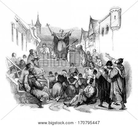 Peter the Hermit preached the First Crusade, vintage engraved illustration. Magasin Pittoresque 1844.