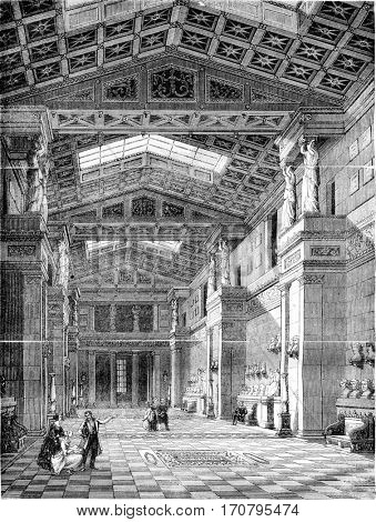 The Walhalla, Inside view, vintage engraved illustration. Magasin Pittoresque 1844.