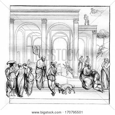 Esau and Jacob, One of the compartments of the main gate of the Baptistery of Florence, vintage engraved illustration. Magasin Pittoresque 1844.