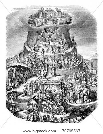 Table of Life, designed by Merian, vintage engraved illustration. Magasin Pittoresque 1844.