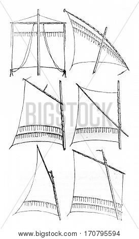 Sailing relates square, Latin sail, gaff sail, sail sprit, gunter Sailing, Sailing has bourcet or lug sail, vintage engraved illustration. Magasin Pittoresque 1842.