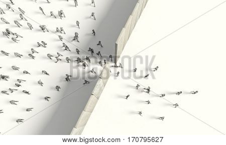 border barrier concept people 3d rendering image