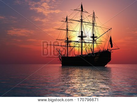 Ancient sailing ship at sunset., 3d render