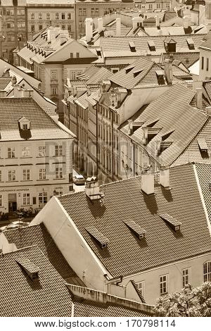 PRAGUE CZECH REPUBLIC - AUGUST 08 2016: Old town of Prague on August 08 2016 in Prague. Prague is the capital and largest city of the Czech Republic. Sepia toned photo.