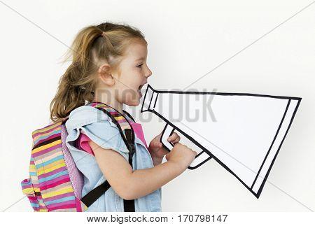 Little Girl Holding Papercraft Megaphone