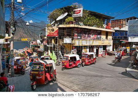 SAN PEDRO, GUATEMALA-DEC 24, 2015: Local people at main street  in San Pedro on Dec 24, 2015, Atitlan lake, Guatemala.