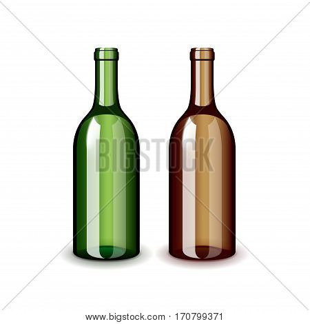 Two classic wine bottles isolated on white photo-realistic vector illustration