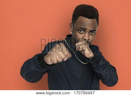 African descent man fighting posing