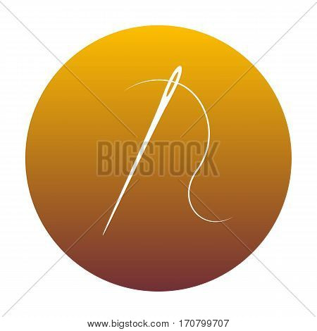 Needle with thread. Sewing needle, needle for sewing. White icon in circle with golden gradient as background. Isolated.