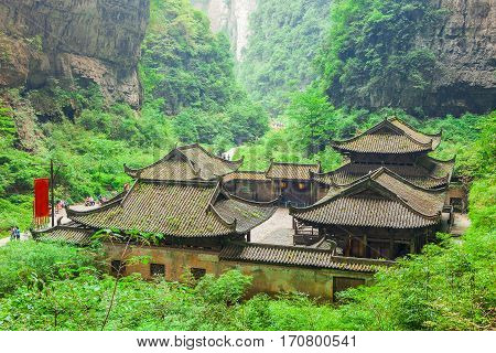 Antique Chinese historical tavern in valley an important constituent part of the Wulong Karst World Natural Heritage Chongqing China