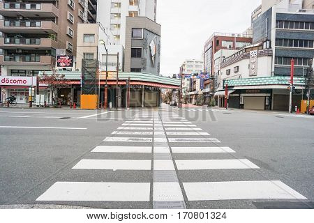 close up crosswalk on the street taken in Asakusa Japan on 2 December 2016