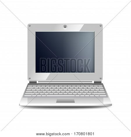 White netbook isolated photo realistic vector illustration