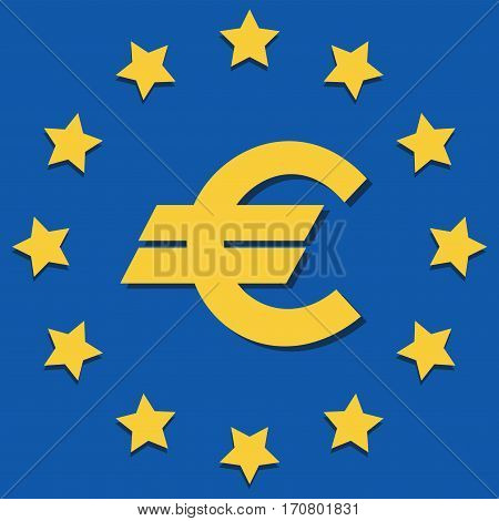 EU Symbols. Emblem. Flat icon. The European Union flag, the official colors and currency symbol .Vector Image.