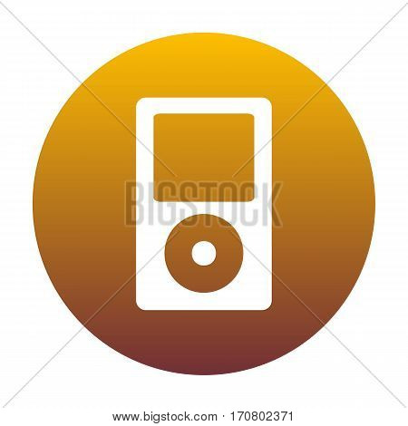 Portable music device. White icon in circle with golden gradient as background. Isolated.