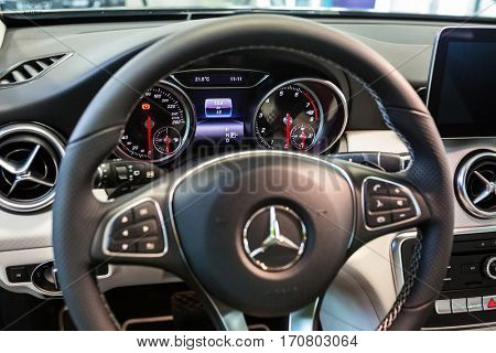 GDANSK, POLAND - JANUARY 30, 2017: Brand new 2017 model of Mercedes GLA in the car showroom of Gdansk, Poland. Mercedes-Benz is German luxury  automobile manufacturer located in Stuttgart.