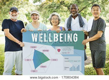 Healthy people holding wellbeing diagram