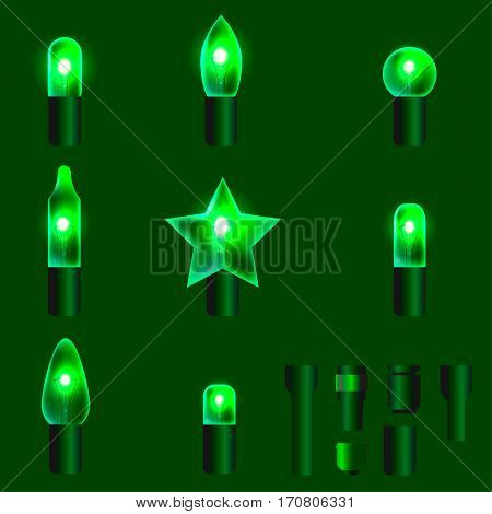 Set of green shining garland lights with holders isolated on background. Christmas, New Year party decoration realistic design elements. Glowing lights for Xmas. Holiday greeting design.