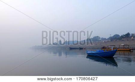Boats in Ganges River in Varanasi, India