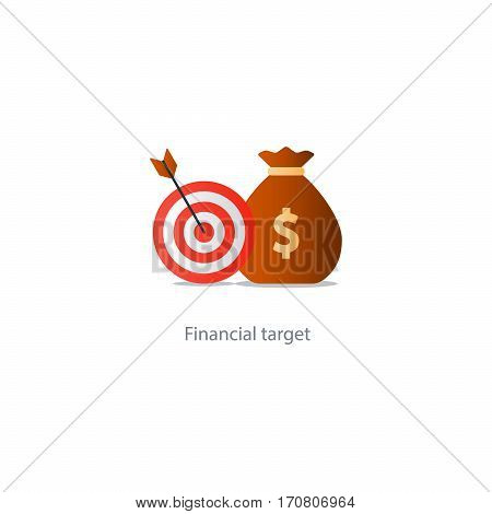 Financial target, money savings, reach goal icon, successful investment concept vector illustration
