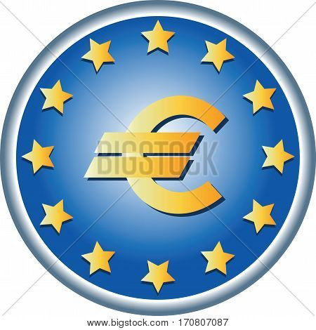 EU symbols. Round emblem. European Union Flag, the official colors and a symbol of money. Vector. logo design, sign book illustrations, brochures, leaflets, use on websites, gifts and cards.