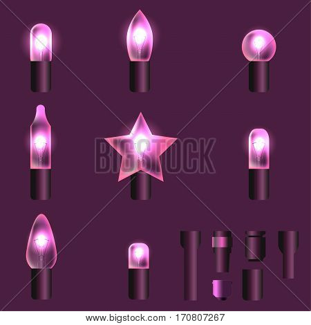Set of pink shining garland lights with holders isolated on background. Christmas, New Year party decoration realistic design elements. Glowing lights for Xmas. Holiday greeting design.