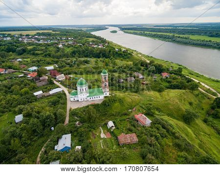 Small russian town aerial landscape with church