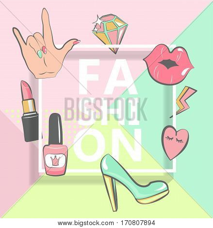 Template for fashion with stylish patch badges with lips, hearts, speech bubbles. Set of fashion stickers, icons in 80s-90s comic cartoon style. Geometric pastel background.