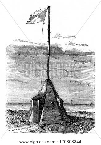 Semaphore Aix Island, Lower Charente, vintage engraved illustration. Magasin Pittoresque 1842.