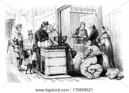 Interior Mont de Paris, the Marais, commitments room, vintage engraved illustration. Magasin Pittoresque 1842.