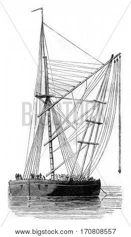 Machine mater of Rochefort, vintage engraved illustration. Magasin Pittoresque 1842.