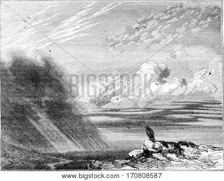 Cumulus Stratus, vintage engraved illustration. Magasin Pittoresque 1842.