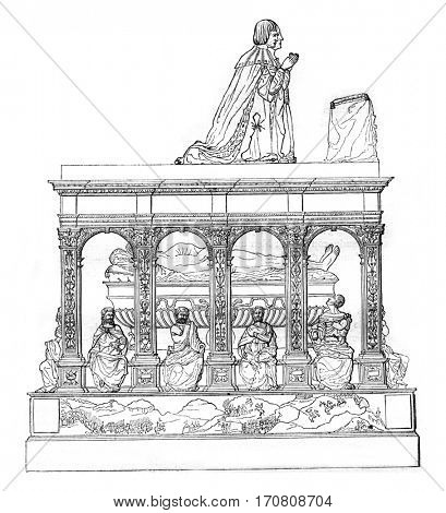 Tomb of Louis XII in the church of Saint-Denis, vintage engraved illustration. Magasin Pittoresque 1842.